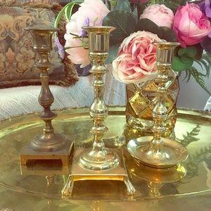 Vintage Brass Candlestick Bundle
